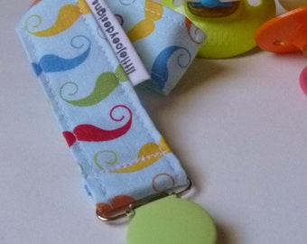 Colorful Mustache Pacifier Clip