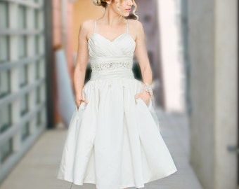 Sabrina- Short Wedding Dress, Reception Dress, Garden Wedding, Vintage Inspired