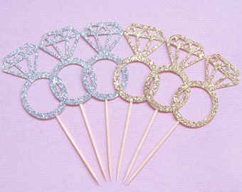 Wedding Ring Cupcake Toppers . Diamond Ring Cupcake Toppers . Engagement Ring Cupcake Toppers . Glitter Diamond Cupcake Toppers Silver