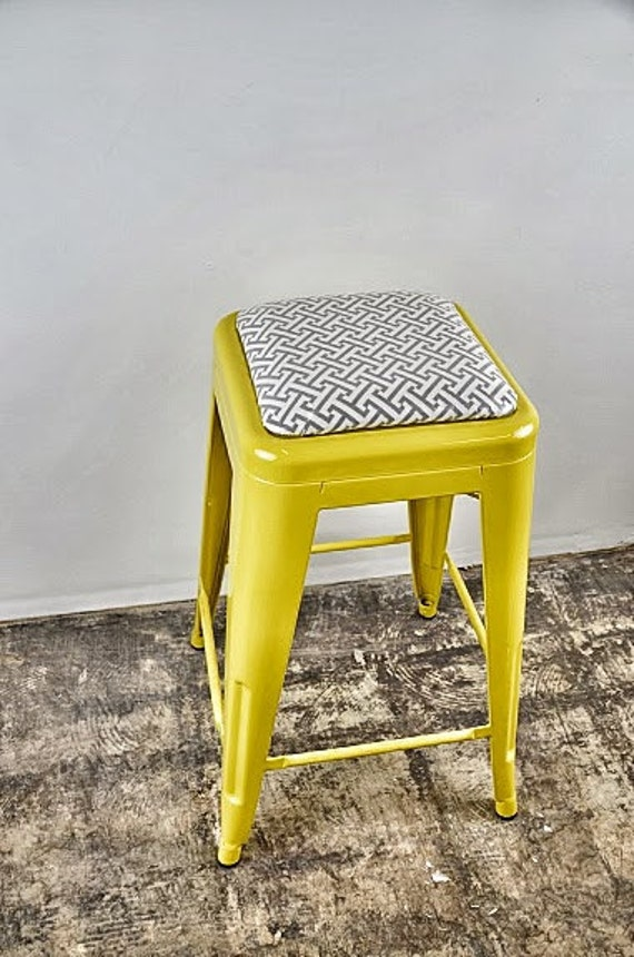 """Custom Painted & Upholstered Tolix Style Stool in the Color and Fabric of your Choice 30"""" Bar Height"""