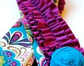 Ruffle Camera Strap Cover-DSLR-Bohemian Floral Teal, Purple-Lens Cap Pocket and Rosette Pin