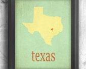 Typographic map art print customizable state poster wall sign Texas poster art print teal red - 11x14 Typography