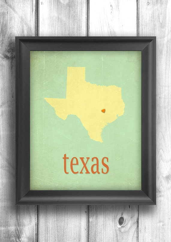 Texas Map Home Decor Wall Hanging Typographic Map Art