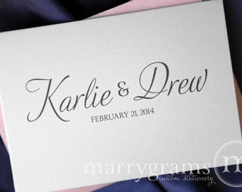Custom Wedding Thank You Cards- Names & Date Bridal Shower Personalized Thank You Notes -Fancy, Pink, Purple, Lagoon, Navy Gift (50ct)