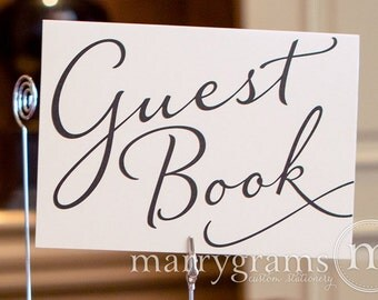 Guest Book Table Card Sign - Wedding Reception Seating Signage - Matching Numbers, Black, Navy Chalkboard Options Available SS03