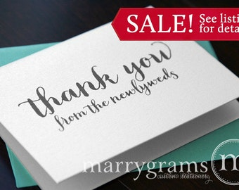 Wedding Thank You Cards from the Newlyweds... Wedding Thank Yous - Thank You Notes from the Bride and Groom, Mr & Mrs (Set of 100) CS02