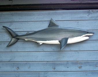 Shark art sculpture, 48'' shark wood carving, nautical art, shark sculpture, shark art, nautical sculpture, ocean art, beach art, marine art