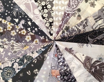 """36 Shades of Grey, Liberty print grey charm charm pack, 5"""" patchwork squares in dove, charcoal and graphite"""