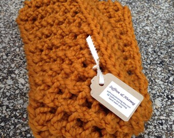Chunky Knitted Infinity Scarf Cowl Long  /The Poppy Long / Butterscotch Mustard