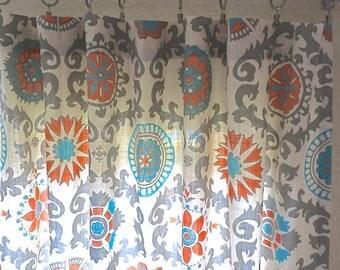 Orange And Turquoise Suzani Curtain Panels 25 Or 50 Inch