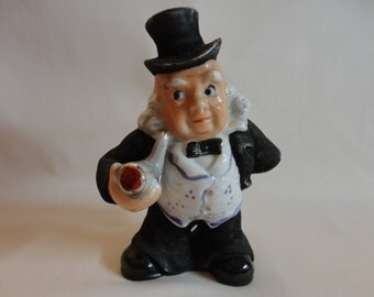 VINTAGE Figurine Man With Pipe 1950s - Black (felted) suit, Bow Tie & Top hat, White vest with gold buttons, bald but long hair fringe