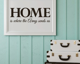 "Home is where the army sends us - style 2 - removable decal 8"" x 20"""