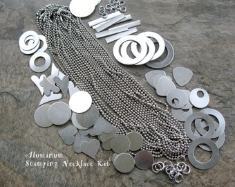 Aluminum STAMPING NECKLACE Kit, Metal Stamping Blanks, 12 Stamped Metal Necklaces Kit, DIY Stamping