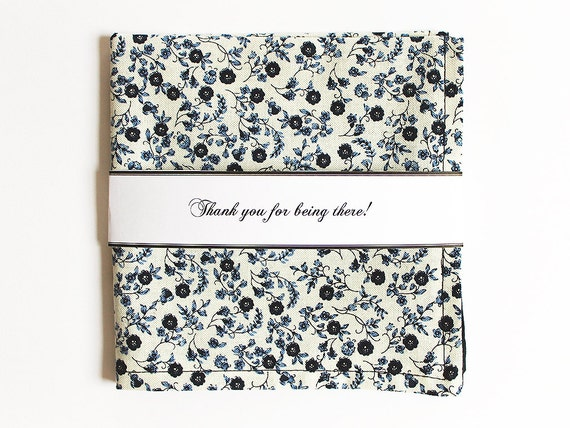 Navy blue handkerchief Floral Reversible pocket square Personalized Unique groomsmen gift Mens Handkerchief Monogrammed groom Spring Wedding