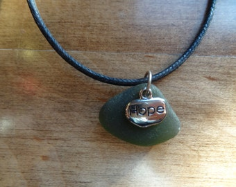 Beach Glass Necklace-Green-Hope 18""