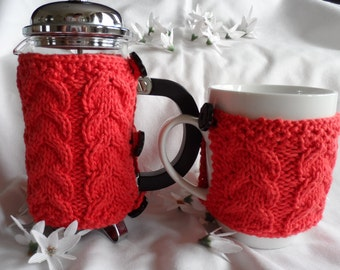 Hand knitted cafetiere cover coffee pot cosy and mug hug