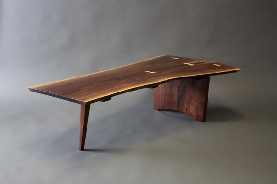Walnut Live Edge Slab Crotch Cut Coffee Table Custom Order Mid