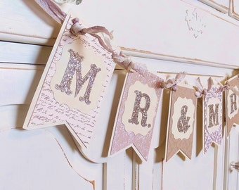 MR. & MRS. Wedding Banner ~Rustic Shabby Chic ~ Photo Prop ~ Burlap and Ivory colored paper