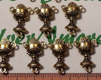 10 pcs per pack 20x12mm Rosary Center Piece Antique Gold Finish Lead Free Pewter