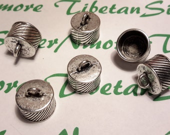 6 pcs per pack 16mm 10mm tall and 14mm Opening Corrugated End Cord Antique Silver Finish Lead Free Pewter