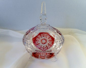 VIntage Ruby Flash Crystal Glass Pedestal Footed Compote LIdded Dish.