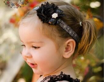 Fancy Black Halloween Shabby Flower on Spider Web Elastic Headband - infant, baby, toddler, girl