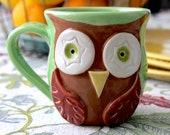 Mr. Owl Ceramic Mug - Retro Apple Green - Brown Owl - Original OOAK Design - Ready to Ship