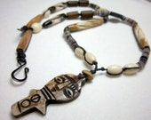 Men's Tribal Necklace, Totem Focal, Horn and Bone, Knotted Necklace, Lightweight, OOAK