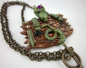Polymer Clay Dragon,  Fantasy Necklace,  Gothic, Green Dragon, Wareable Art, Greens and Browns