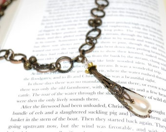 Clearance Sale OOAK Necklace Pearl Teardrop Necklace Unique Gifts for Her Mothers Day Valentines Gifts