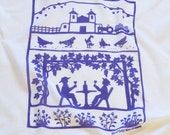 Flour Sack Dish Towel - Vineyard: Purple or Turquoise  (Green sold out)