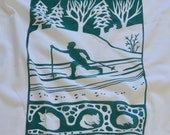 Flour Sack Dish Towel - Cross Country Skier, Winter Green or Indigo
