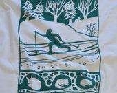 Flour Sack Dish Towel - Cross Country Skier, Winter Green or Indigo