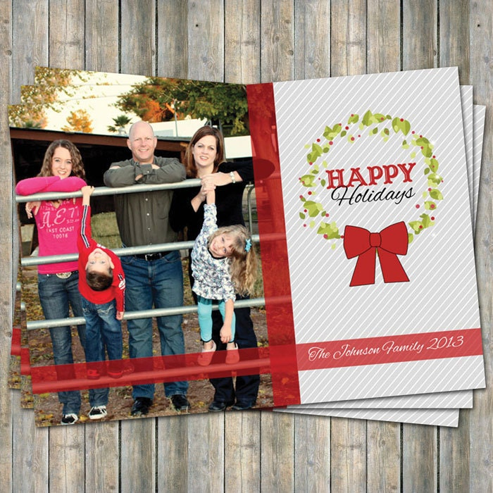Holiday card with photo, Wreath photo card, digital printable file