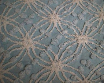 """Soft BLUE with WHITE Chenille Spider Designs and Pops Vintage CHENILLE Bedspread Fabric - 24"""" X 24"""""""