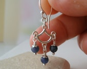 Sodalite Sterling Silver Earrings, Denim Blue Stone, Dangle Short Alas Chandelier Fan Earrings, Handmade Jewelry