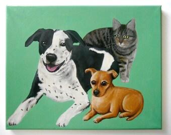 "Custom Pet Portrait / Custom Dog Portrait - 3 Pets - Solid Background (14x18 x0.75"" painting on canvas) Pitbull Example"