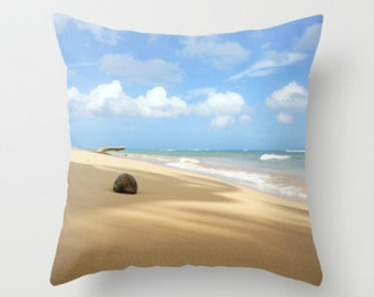 Beach Decor Pillow Cover, Beach Photography of Turquoise Ocean Waves Blue Sky Neutral Sand, Beach Cottage Home Decor Bedding