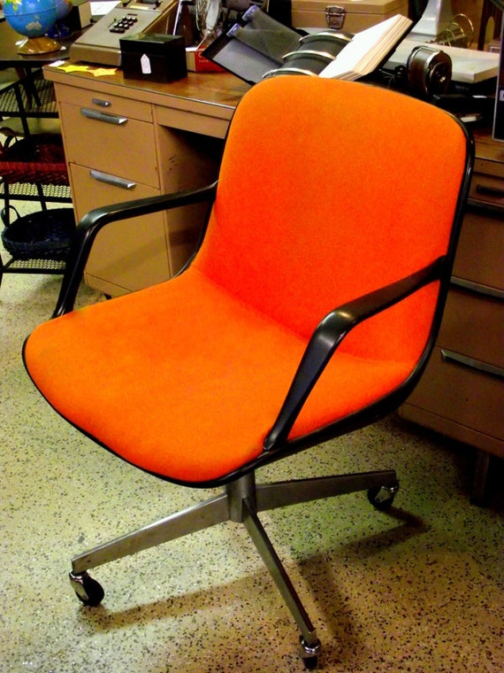 Pollock Knoll Style Office Chair In Orange Mid Century With