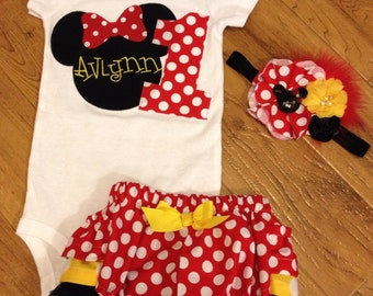 First birthday Mouse birthday outfit in red polka dot, black, and yellow dot