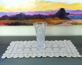 Large Crochet Doily - Table Runner - Vintage Crochet Doilies - Dresser Scarf