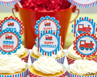 Vintage Train 2 Inch Party Circles, Instant Download, Printable, Cupcake Toppers, Favor Tags, Decorative Circles
