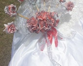 Fan Bouquet Bridal Bouquet in Coral and silver Summer Nights Fan Bouquet