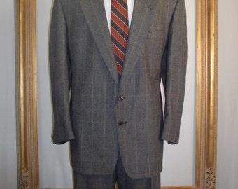 Vintage Pierre Cardin Charcoal Grey Plaid Wool Suit - Size 50