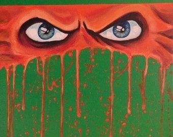 "Ninja Turtles -MICHELANGELO - Art Print Reproduction 10"" x 12"" - signed by Artist / TMNT"