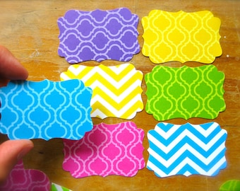 French Scrolled Gift Tags-Neon Chevron Pattern-Lot of 25-Blank Paper Labels-For card making, goody bags, gift wrap, organizing-Summer Prints