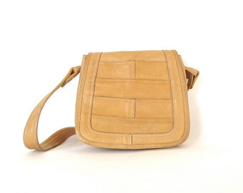 Vintage Honey Leather Small Shoulder Satchel