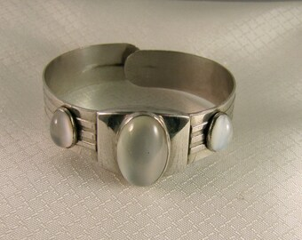 C1930's Art Deco Moonstone Stainless Steel Bracelet, Patent 1994826