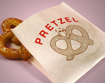 "You Choose the Quantity! 6-3/4"" x 7"" Large PRETZEL Printed Bakery Paper Sleeves Treat Bags (Free Shipping!)"