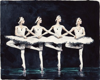 Four Swan Ballerinas -  Print of Watercolor Painting - Swan Lake Black Jewelry Box Ballerina Ballet Dancer Large Size Gift for Her